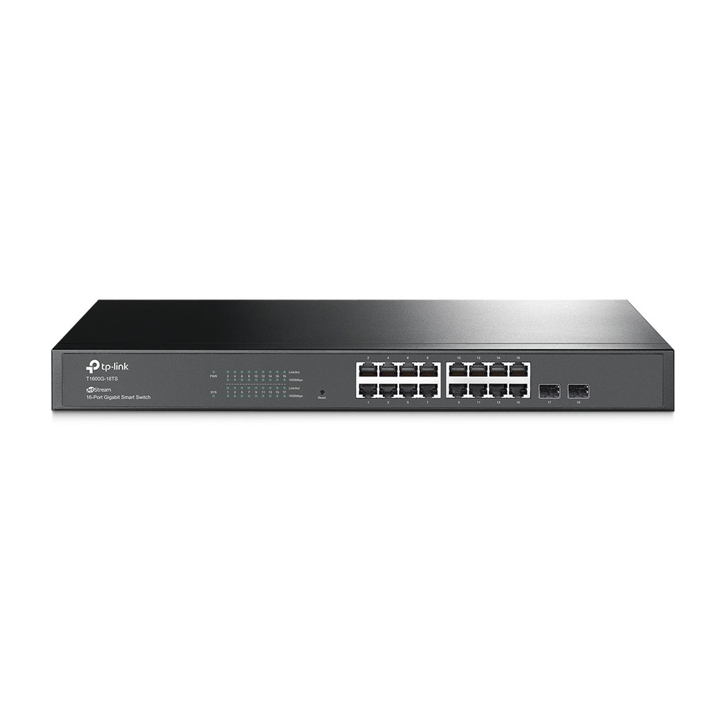 TP-LINK - Switch Smart JetStream Gigabit de 16 Puertos con 2 Ranuras SFP - T1600G-18TS (TL-SG2216)