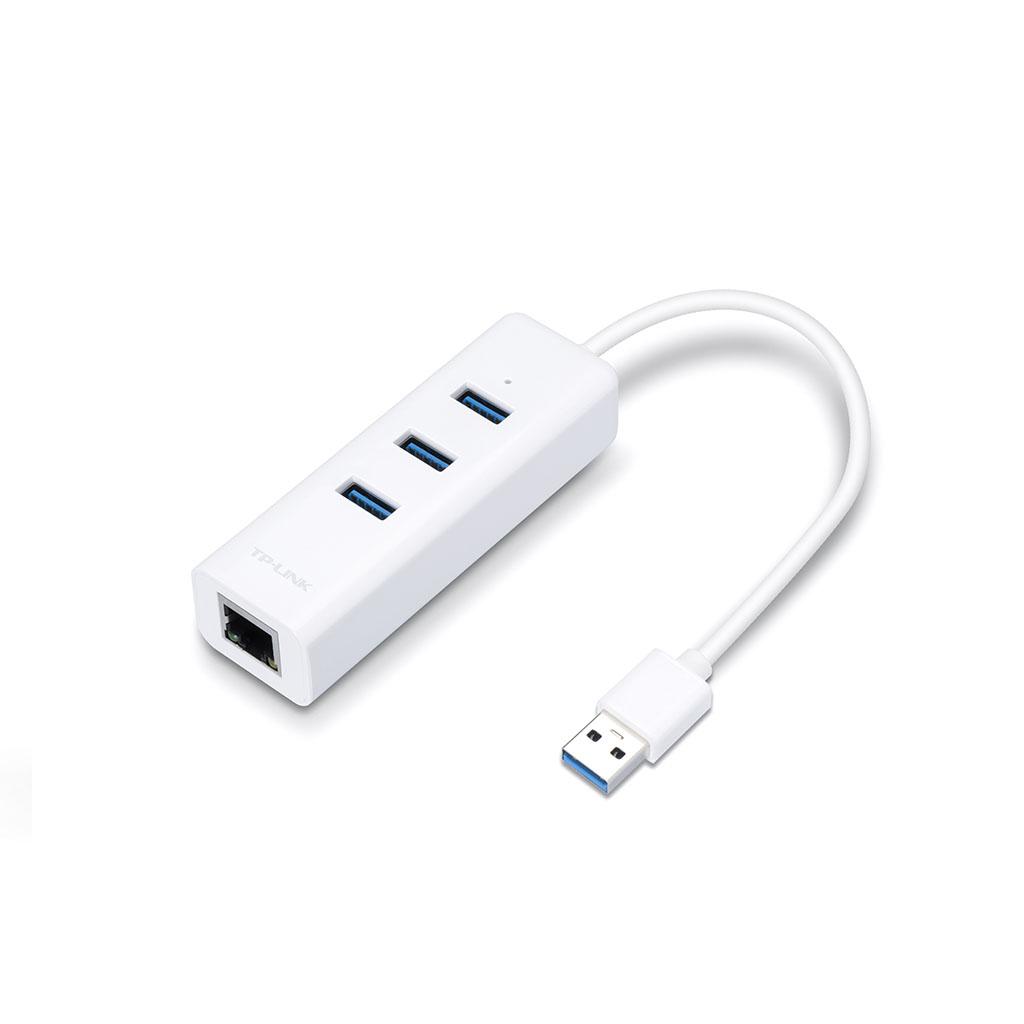 TP-LINK - Adaptador USB 2 en 1 con Hub de 3 Puertos USB 3.0 y Adaptador Ethernet Gigabit