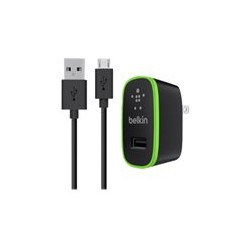 Belkin Universal Home Charger with Micro USB ChargeSync Cable - Adaptador de corriente - 10 vatios - 2.1 A (USB) - en el cable: Micro-USB - negro