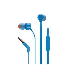 JBL T110 - Auriculares internos con micro - en oreja - cableado - conector de 3,5 mm - azul